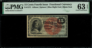 Fr-1271 $0.15 Fourth Issue Fractional Currency - 15 Cents - Graded PMG 63 EPQ