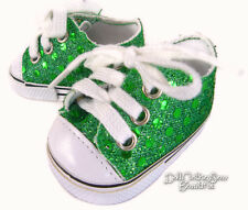 """For American Girl ST PATRICK'S DAY Green Sequin Sneakers Shoes 18"""" Doll Clothes"""