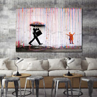 """NEW Canvas 24""""x36"""" in. Banksy Street Art Print Colorful Rain Painting Picture"""