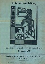 Schuster Nähmaschine Sattler Nähmaschine Adler Klasse 30 Gebrauchsanleitung