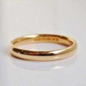 Fine Vintage 18ct Gold Wedding Band Ring c1939; 3.0mm Wide; UK Size: 'O'