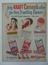 Vintage Australian advertising 1956 ad KRAFT CARAMELS chocolate lolly art