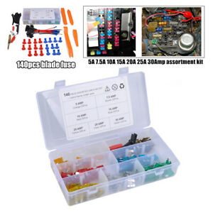 140PCS Nylon Mix Assorted Car Motorcycle Blade Fuse 5A-25A 30Amp+Fuse Holder Box