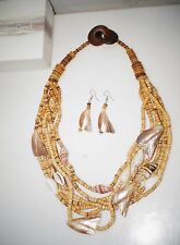 Coldwater Creek Coconut Seashell Layered Waterfall Necklace Earrings Set New