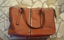 BLACK RIVET brown leather large handbag
