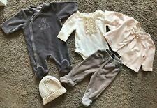 5PC 0-3M BABY GAP PETIT BATEAU DPAM FRANCE Girls Sleeper Bodysuit