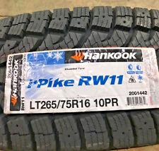 4 New LT 265 75 16 LRE 10 Ply Hankook iPike RW11 Studdable Snow Tires