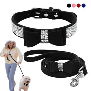 Bling Leather Dog Collar and Lead Rhinestone Flocking Sparkly Crystal Bowknot