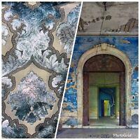 Designer Italian Burnout Damask Chenille Velvet Fabric- Blue - Upholstery