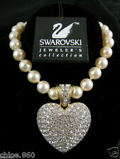 Signed Swarovski Heart Crystal Pearl Necklace ~ Pendant Retired Rare New! Sale!
