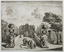 Melchior KUSELL d'après BAUR, jardin italien, escaliers et fontaines, XVIIe
