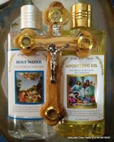 Holy Water,Anointing oil 250 ml,8.45oz + Hand made Olive Wood Cross Jerusalem