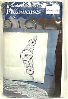 Fairway Needlecraft Stamped Embroidery Pillowcases Floral Motif 83089