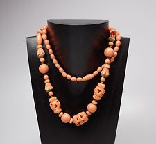 """Vintage 28"""" Celluloid Necklace Carved Coral Color Brass Accent Beads """"As Is"""""""