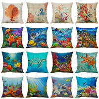 18'' Fashion Ocean Animal Pillow Case Cotton Linen Cushion Cover Home Decor