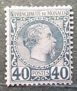 Monaco 1885 Definitive issue, Prince Charles III, 40C, Mi #7 CV=EUR80 MH