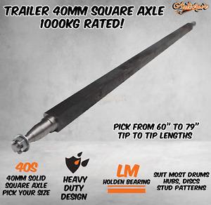 Trailer Square Solid 40mm Square Axle Axel Caravan Hub Drum Disc Lazy 1000KG HD