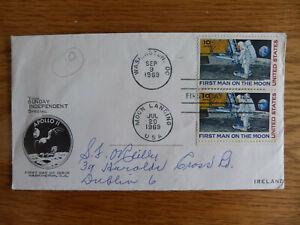 USA APOLLO 11 FIRST MAN ON THE MOON DOUBLE P/M WASHINGTON & MOON LANDING 1969