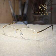 Pure Titanium Eyeglasses mens rimless gold rectangular glasses RX clear eyewear