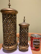 More details for 2 matching vintage moroccan pierced footed brass candle holders. 35 & 25 cm high