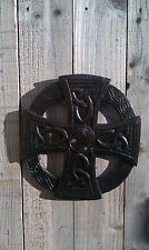 Fair Trade Indonesian Hand Carved Made Wooden Celtic Sun Cross Wall Plaque Sign