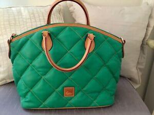 New Dooney & Bourke Green Quilted Spicy Satchel Shoulder Bag Red Interior