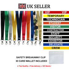 More details for printed or plain lanyard personalised custom neck strap id holder safety clip uk
