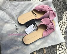 Pink Leather Zara Slides Sandals Bow 7 40 New BNWT