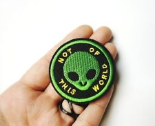 Little Green Alien Head, Embroidered Patch Iron-On/Sew On, Alternative Punk Goth