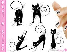 Sexy Cute Black Cat Nail Decal Sticker Set CAT904