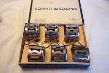 Vintage Warsaw Poland Chrome Handled Cup / Glass Holders Set/6 IOB
