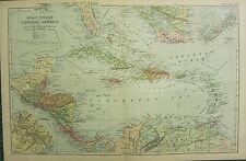 1894 ANTIQUE MAP ~ WEST INDIES & CENTRAL AMERICA JAMAICA HAITI SAN DOMINGO CUBA