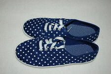 Womens BLUE w/ WHITE POLKA DOTS CANVAS TENNIS SHOES Casual Lace Up Walking SZ 7