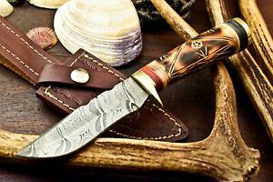 Custom Handmade Damascus Steel Blade Hunting Knife   Camel Bone