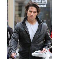 Tom Cruise MI4 Ghost Protocol Hooded Black Wrinkled Genuine Leather Jacket