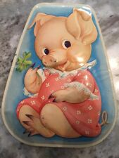 Vintage Metal Trinket Container With A Female Pig On The Cover