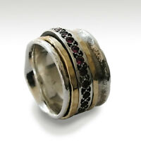 Silver and Gold Ruby Spinner Ring Sterling Silver Wide Meditation Band 14mm