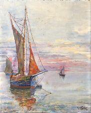 Pêche Marine smack coquillage bateau draguant huître peinture sur bois cir 1930