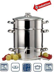 3pc Steamer + Juicer Steam Juice Stainless Stove Cook Vegetables Baby Food 9Lt.