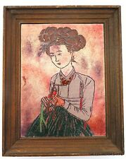 HAND PAINTED ENAMEL ART PICTURE after famos PORTRAIT OF A BEAUTY by SHIN YUN BOK