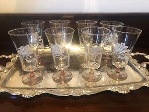 8 Vintage Rose Parfait Cocktail Glasses Pink Bases White Decoration 8 Ounce