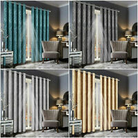 Thermal Blackout Curtain Pair Ready made Eyelet Curtains Ring Top With Tie Backs