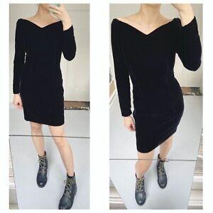 Black Velvet Little Black Dress Vintage Sz S