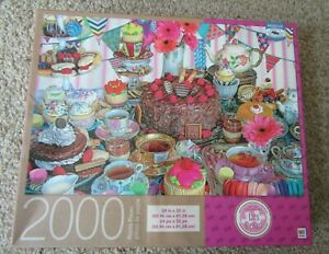 """MB 2000 piece Jigsaw puzzle TEA PARTY TENT Lars Stewart 24""""x32"""" COMPLETE"""
