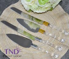 CAKE KNIFE AND SERVER SET WITH FAUX CRYSTAL HANDLES