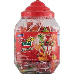 BonBon Bum Lollypops lollipops assorted 100 lollypops jar 4 different flavour
