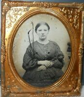 Young Lady 1/6th size Ruby Ambrotype image in a brass frame