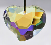 Cute 30mm Crystal Clear AB Facet Funky Heart Prism Pendant SunCatcher 1-1/8 inch