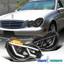 For Black 2001-2007 Benz W203 C-Class Projector Headlights W/ LED Signal Lamps