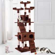 "67"" Cat Tree Tower Condo Furniture Scratching Post Pet Kitty Play House Coffee"